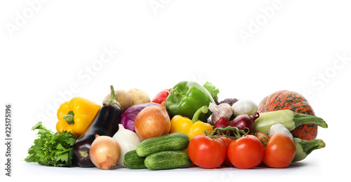 Tuinposter Groenten Heap of fresh ripe vegetables on white background. Organic food