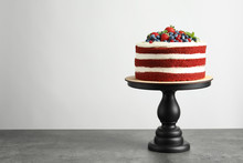 Delicious Homemade Red Velvet Cake And Space For Text On Light Background