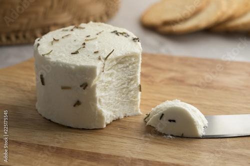 Ppreserved white organic Dutch goat cheese