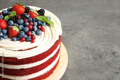Fotografia, Obraz  Delicious homemade red velvet cake and space for text on table
