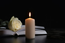 Burning Candle, Book And White...
