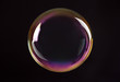 canvas print picture - Beautiful translucent soap bubble on dark background