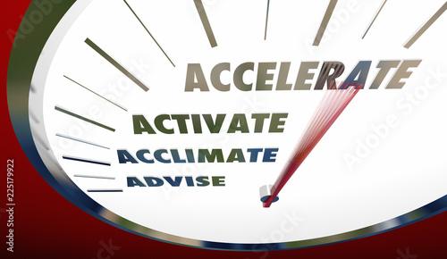 Photo Advise Acclimate Activate Accelerate Sales Steps Speedometer 3d Illustration