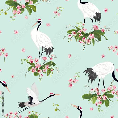 bezszwowy-wzor-z-japonskimi-zurawiami-i-tropikalnymi-storczykowymi-kwiatami-retro-ptasi-tlo-kwiecisty-moda-druk-urodzinowy-japonski-dekoracja-set-ilustracja-wektorowa