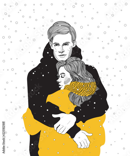 Fotografía vector cute young couple in bright down jackets hugs under a snowfall, a meeting