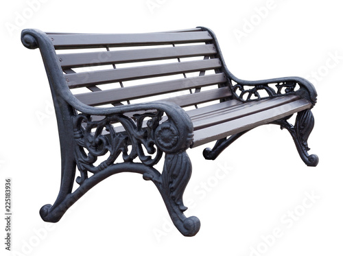 Side view on a gray wooden bench with wrought legs with ornate patterns, isolate Canvas Print