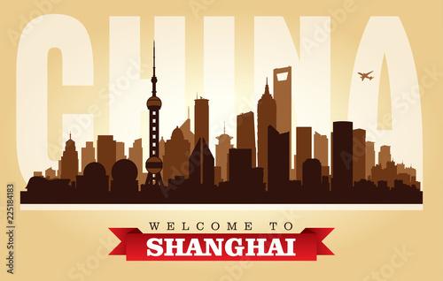 Fototapeta premium Szanghaj Chiny sylwetka wektor panoramę miasta