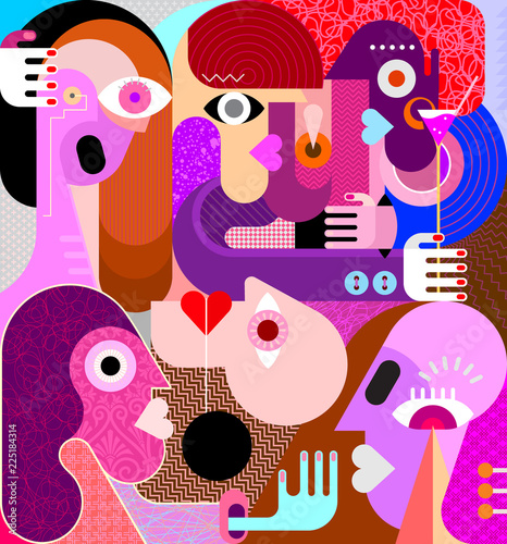 Wall Murals Abstract Art Group of People vector illustration
