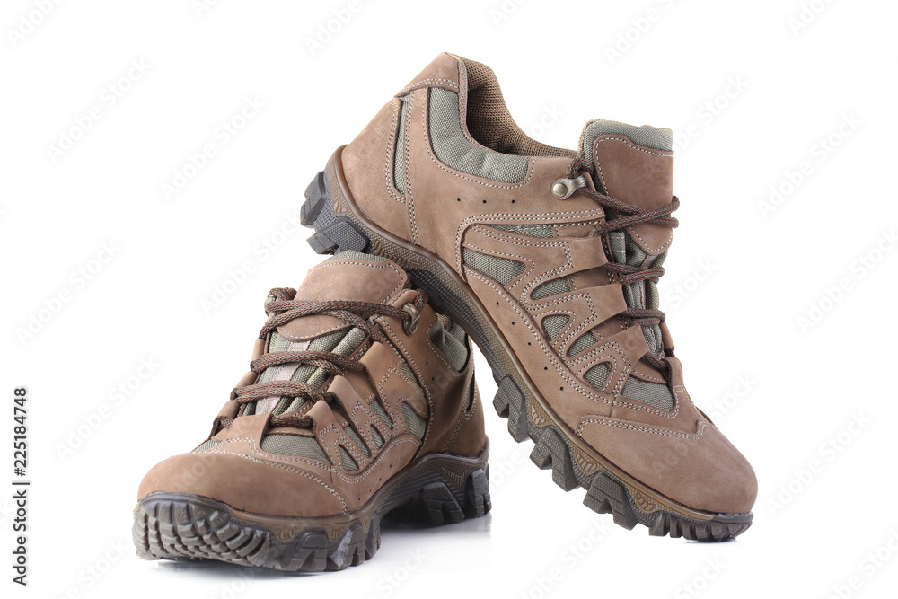 Fototapety, obrazy: Hiking boots isolated on white