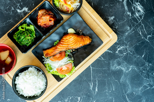 In de dag Grill / Barbecue Japanese food mix on a black stone table.top view composition.