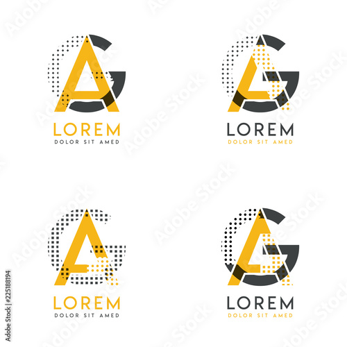 a set with four abstract AG logo Canvas Print