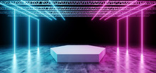 Dark Modern Sci-Fi Futuristic Neon Glowing Blue And Purple Lights Tubes  White Club Stage With Empty Space And Black Background 3D Rendering