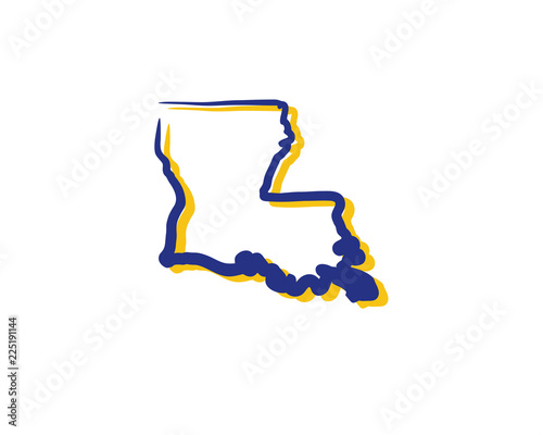 Louisiana Outline Logo Icon 1 Fotobehang