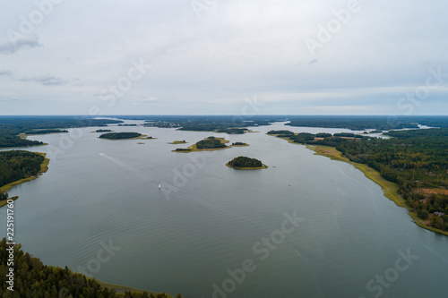 Tuinposter Grijs Aerial view of the archipelago outside Tammisaari Finland