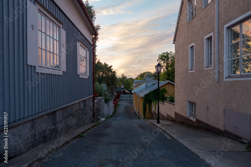Narrow streets of Tammisaari Raasepori Finland in the old part of the town