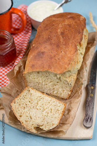 Cottage cheese dough bread with wheat bran
