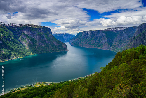 Spoed Foto op Canvas Nachtblauw Amazing nature view with fjord and mountains. Beautiful reflection. Location: Scandinavian Mountains, Norway. Artistic picture. Beauty world. The feeling of complete freedom