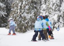 Ski School For Kids On Slope