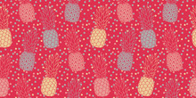 Lively Pineapple Pattern, Seamless Vector Design With Hot Pink Irregular Polka Dot Background. Trendy Vivid Summer Colors. Great For Editorial Design, Paper Products, Summer Fabrics, And More.