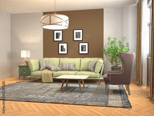Foto op Canvas Restaurant Interior of the living room. 3D illustration