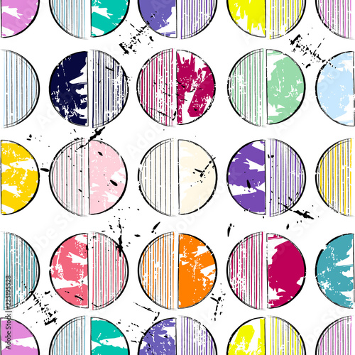 seamless background pattern, with circles/semicircles, paint strokes and splashes