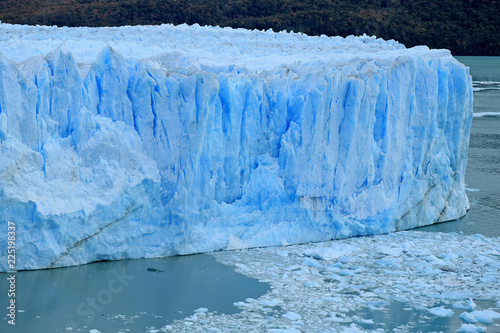 Amazing Huge Ice-blue Color Wall of Perito Moreno Glacier in the Los Glaciares National Park, El Calafate, Patagonia, Argentina