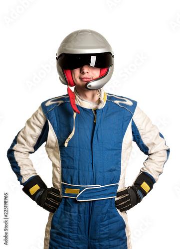 Tela Professional formula pilot wearing a racing suit for motor sports