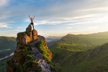 Woman On Top Mountain In Altai, Sunset Light, Beauty Summer Landcape