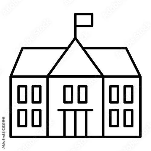 School thin line icon  Building vector illustration isolated on