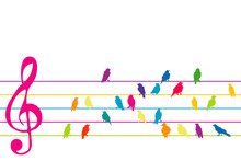 Abstract Colorful Music Stave With Birds