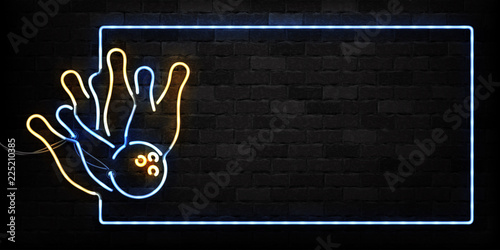 Fototapeta Vector realistic isolated neon sign of Bowling frame logo for decoration and covering on the wall background. Concept of game sport and bowling club. obraz