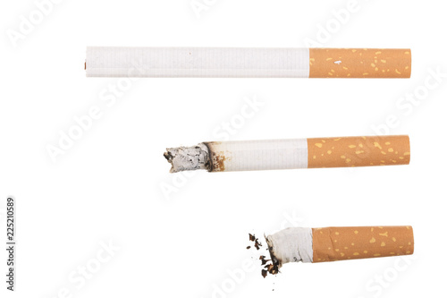 Fotografija  cigarette isolated on white background. Top view