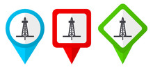 Drilling Red, Blue And Green Vector Pointers Icons. Set Of Colorful Location Markers Isolated On White Background Easy To Edit.