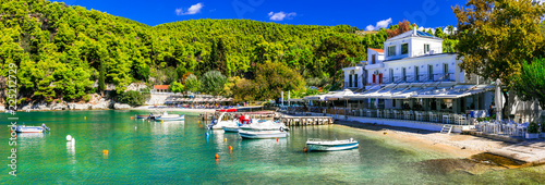 Best of Skopelos island - Picturesque fishing village Agnontas with traditional taverns on the beach. Sporades, Greece