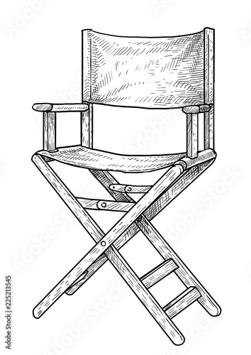 Director chair illustration, drawing, engraving, ink, line art, vector