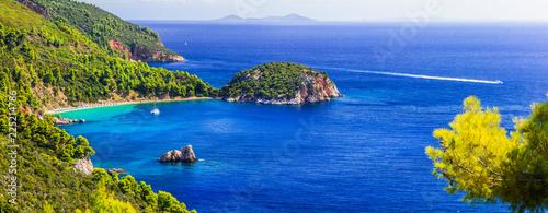 Best of Skopelos island - panorama of beautiful Stafylos beach. Sporades, Greece