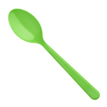 Green Plastic Spoon Isolated On White Background