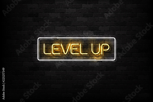 Fotografie, Obraz  Vector realistic isolated neon sign of Level Up button logo for decoration and covering on the wall background