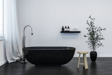Interior Of Modern Bathroom With Black Bathtub