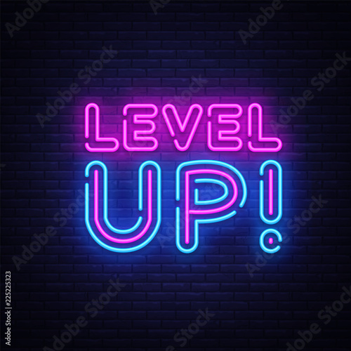 Photo Level Up Neon Text Vector