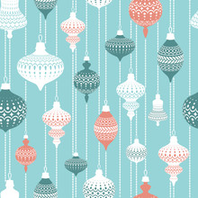 Seamless Pattern With Christmas Balls. Decor For Christmas Spruce. A Pattern For Festive Design And Packaging.