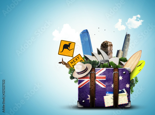 Foto op Plexiglas Oceanië Australia, retro suitcase with hat and attractions Australia