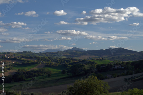 Foto op Canvas Zwart landscape,mountain,blu sky,nature,clouds,panorama,view,countryside,hill,agriculture,field,crops,horizon