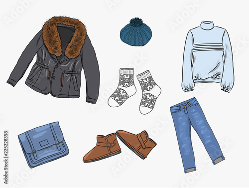 875cfc9ba41 Vector stylish fashion set of woman s autumn
