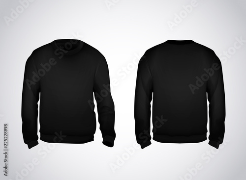 Black men's sweatshirt template front and back view Canvas Print