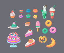 Set Of Pixel Art Desserts. Macarons, Cakes, Cocktails Donuts And Other.