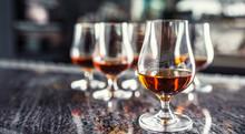 Cups With A Cognac Rum Brandy ...