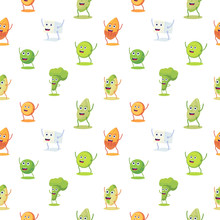 Seamless Pattern With High Protein Vegan Food Characer. Almond, Lentils, Tofu, Pistachio, Pumpkin Seeds, Broccoli, Pea Cute Character. Vector Flat Style.