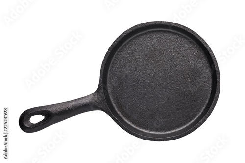 Fotografie, Obraz  Empty cast-iron frying pan of black color isolated on white background, top view
