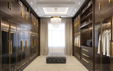 Luxury Dressing Room With Crystal Chandelier